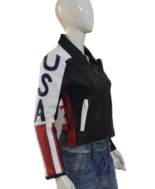 American Flag Selena Gomez Black Jacket