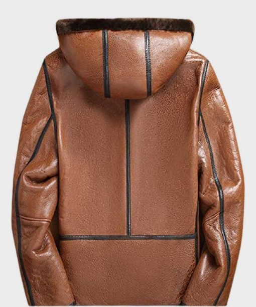 Mens Genuine Leather Shearling Hooded Jacket