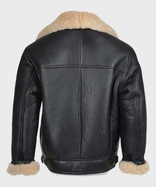 Mens Shearling Fur Black Real Leather Jacket