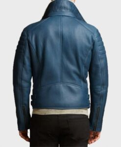 Mens Shearling Fur Blue Leather Jacket