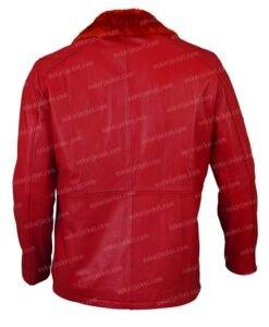 Mens Shearling Fur Red Leather Jacket