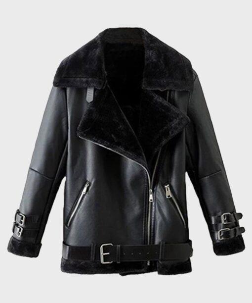 Men's Sheepskin Black Leather Jacket