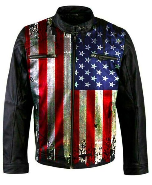 Vintage USA Flag Biker Jacket