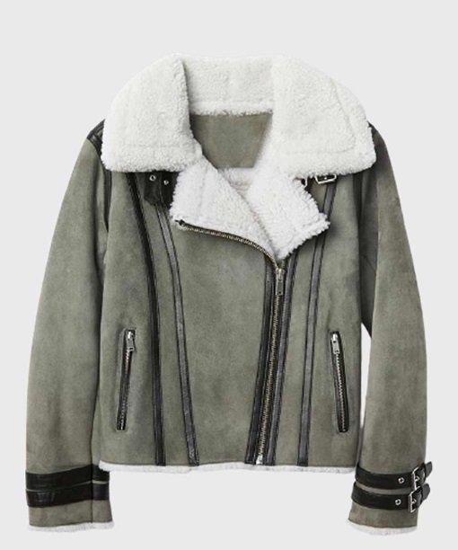 Women Soft Shearling Fur Collar Grey Jacket