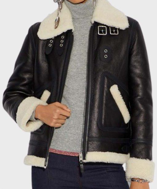 Womens Aviator Ivory Shearling Black Jacket