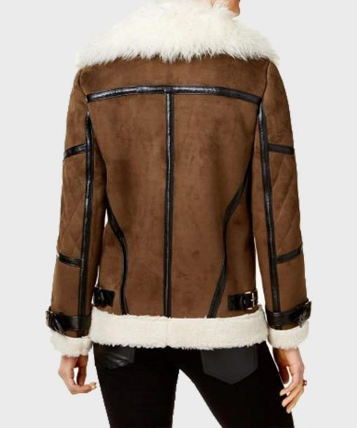 Womens Faux Fur Brown Leather Jacket