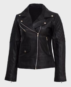 Womens Leather Quilted Shoulder Jacket