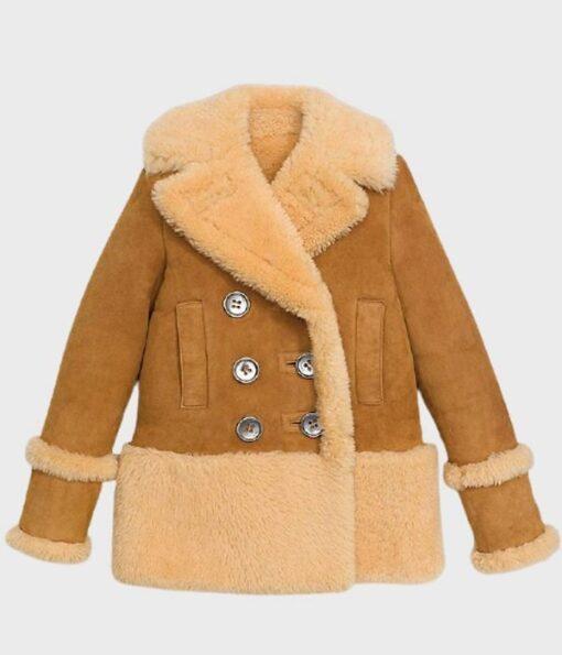 Womens Shearling Fur Brown Pea Coat