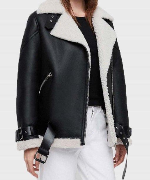Womens Sheepskin Shearling Fur Biker Jacket