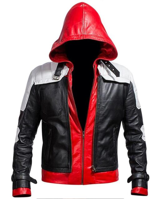 Batman Leather Jacket with Red Hood