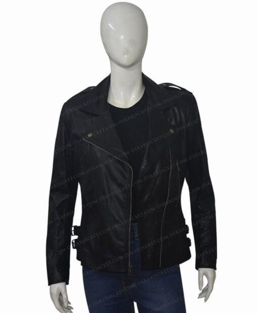 Black Widow 2021 Natasha Romanoff Biker Jacket Unzipped