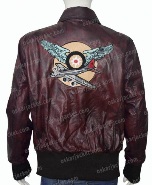 Captain Marvel Brown Leather Jacket Back