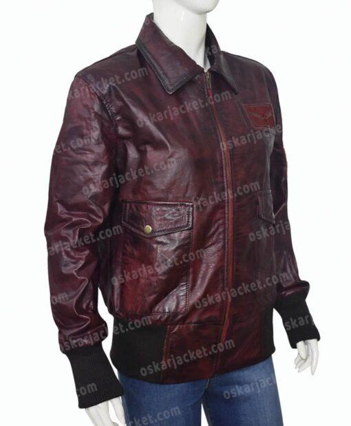 Captain Marvel Brown Leather Jacket Left