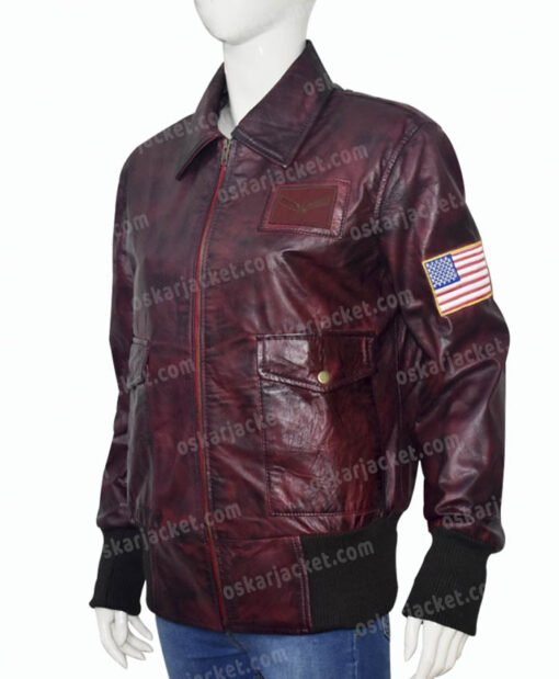 Captain Marvel Brown Leather Jacket Right