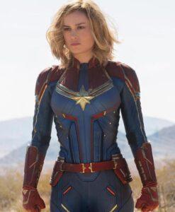 Captain Marvel Padded Shoulders Leather Jacket