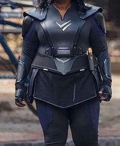 Emily Thunder Force Black Leather Costume Jacket Front