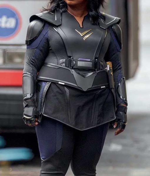 Emily Thunder Force Black Leather Costume Jacket Full Image
