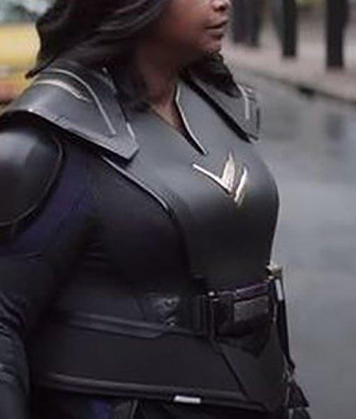 Emily Thunder Force Black Leather Costume Jacket Side