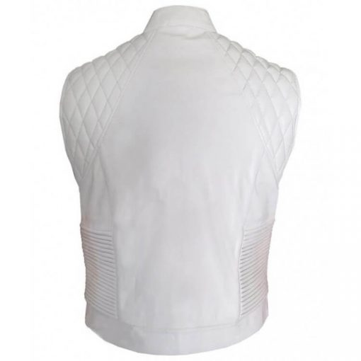 Justin Bieber White Victoria Streets Leather Quilted Vest Back