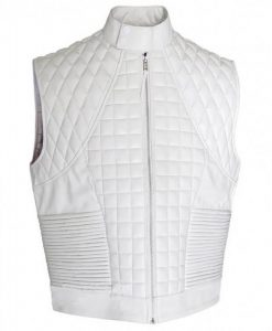 Justin Bieber White Victoria Streets Leather Quilted Vest Image
