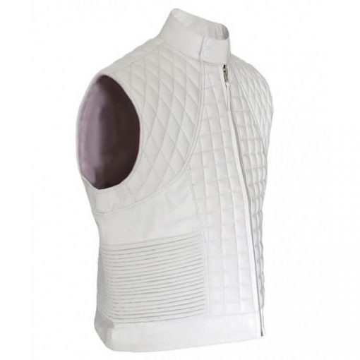 Justin Bieber White Victoria Streets Leather Quilted Vest Right