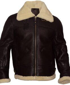 Mens Aviator B3 RAF Brown Leather Jacket