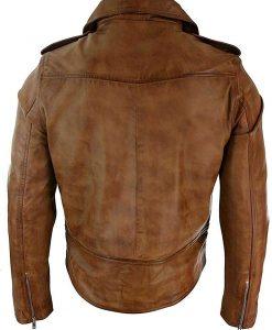Mens Biker Vintage Brando Style Leather Jacket