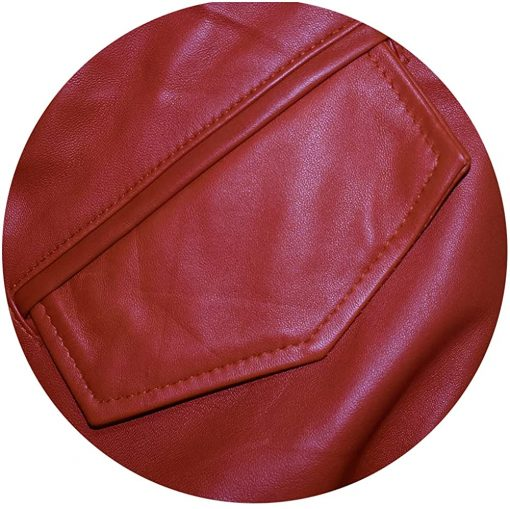 Mens Capsule Logo Sheep Leather Red Jacket
