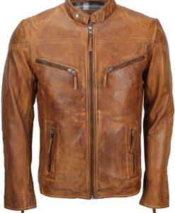 Mens Fitted Tan Biker Vintage Casual Jacket