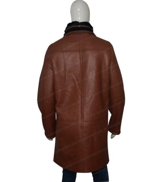 Mens RAF B3 Bomber Duffle Shearling Fur Coat Back