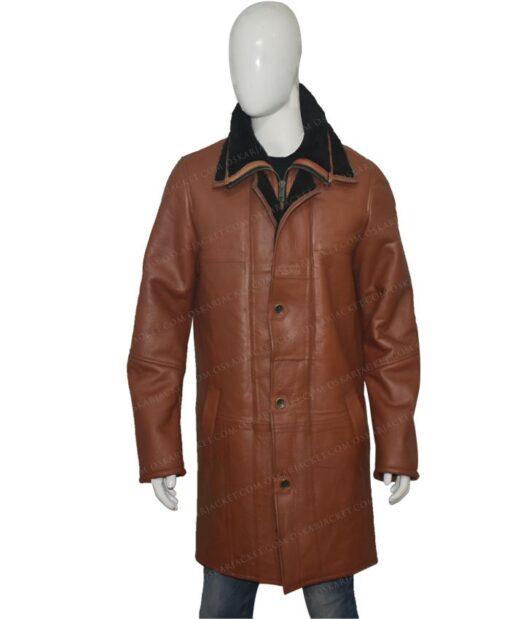 Mens RAF B3 Bomber Duffle Shearling Fur Coat Front Closed