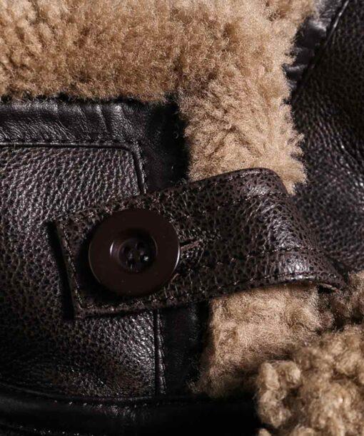 Mens Shearling Fur Dark Brown Jacket