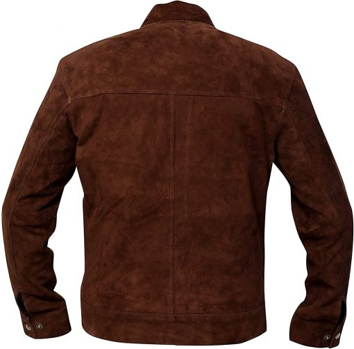 Mens Slim Fit Coffee Brown Suede Leather Jacket