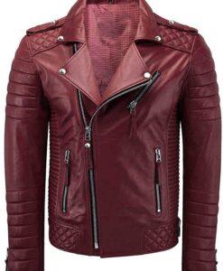 Mens Biker Café Racer Maroon Faux Leather Jacket