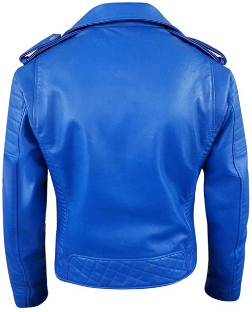Mens Synthetic Leather Biker Blue Jacket