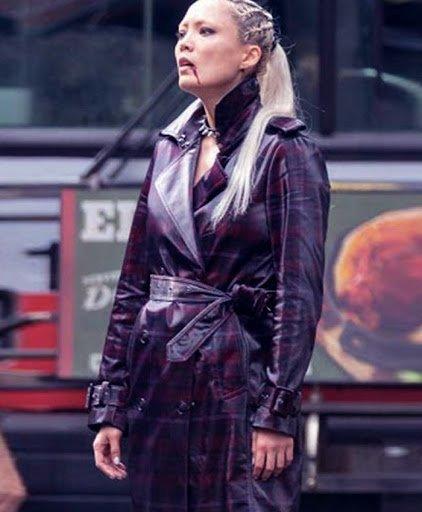 Pom Klementieff Thunder Force 2021 Laser Purple Coat Side Image