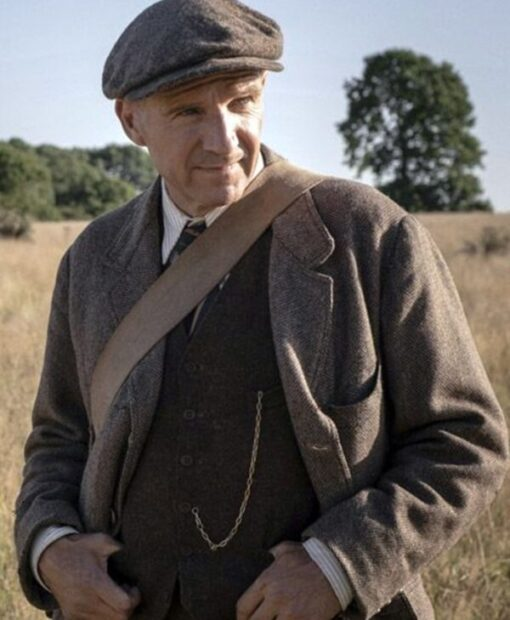 The Dig Ralph Fiennes Wool-Blend Grey Coat