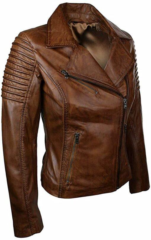 Woman Slim Fit Biker Vintage Brown Jacket