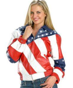 Womens American Flag Biker Jacket