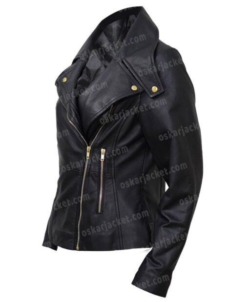 Womens Biker Motorcycle Black Leather Jacket