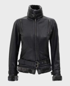 Womens Designer Shearling Black Jacket