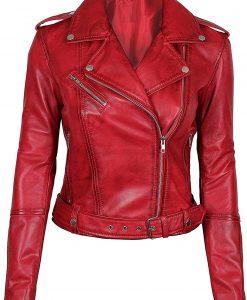 Womens Negan Biker Lambskin Red Jacket