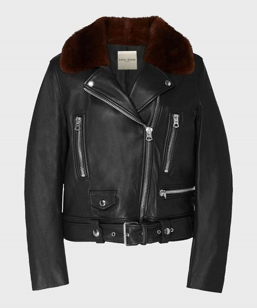 Womens Real Leather Biker Jacket