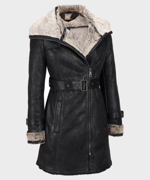 Womens Shearling Mid Length Leather Coat