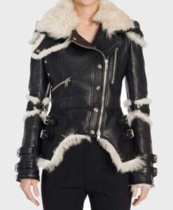 Womens Sheepskin Black Biker Jacket