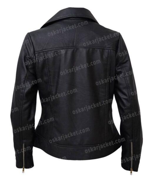 Womens Slim Biker Motorcycle Black Leather Jacket