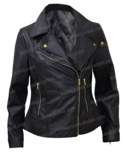 Womens Slim Fit Biker Style Motorcycle Black Leather Jacket