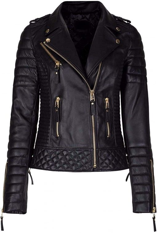 Womens Slim Fit Sheep Leather Biker Jacket