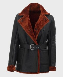 Womens Soft Shearling Belted Coat