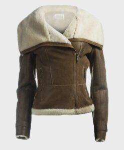 Womens Soft Shearling Brown Jacket